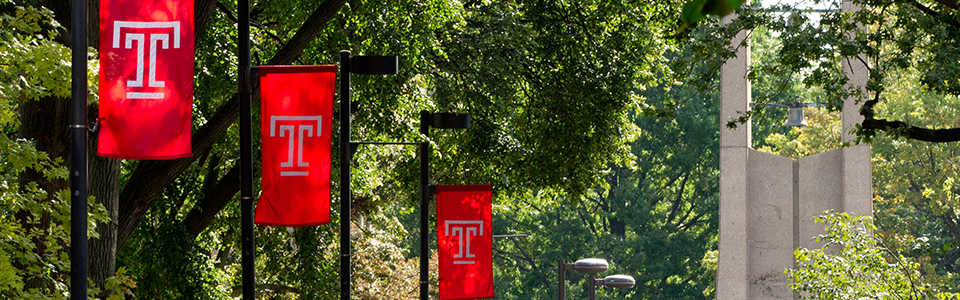 Temple University Flags and Bell Tower